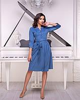 Замечательное платье из замши с поясом и расклешенной юбкой, фото 1