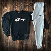 Мужской спортивный костюм Nike черно-серого цвета (Найк трикотажный весна/лето)