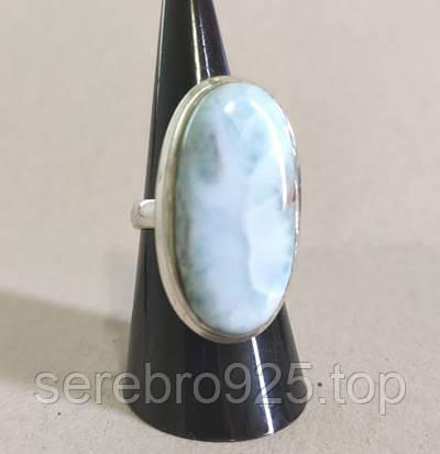 Серебряное кольцо с натуральным ларимаром 17 размера