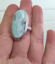 Серебряное кольцо с натуральным ларимаром 17 размера, фото 2