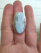Серебряное кольцо с натуральным ларимаром 17 размера, фото 3