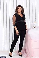 Модный женский костюм брюки и кофта на полных женщин черный , р.48-50, 52-54, 56-58
