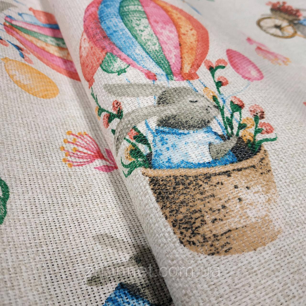 Тканина для скатертини рогожка Великодній кролик 150 см (629751)