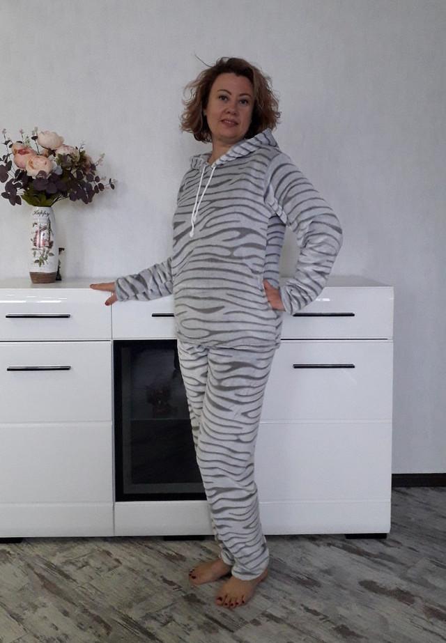 5f9f9c8ce4a8b Женская пушистая пижама с капюшоном больших размеров, цена 750 грн ...