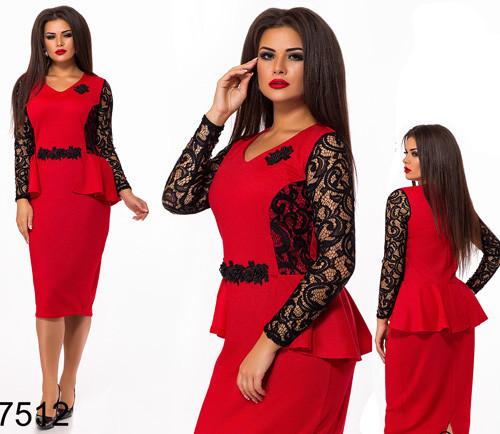 Красивое платье рукав из гипюра (красный) 827512