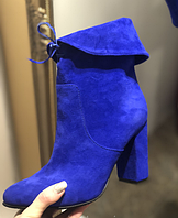 Женские замшевые ботильоны ярко синего цвета