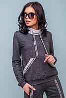 Женский спортивный костюм весна/осень 44-50 размера черно-серый, фото 1