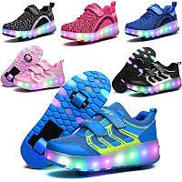 Светящиеся кроссовки хилисы на роликах детские и подростковые. ЕВРО качество. Хит 2019