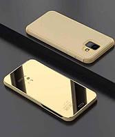 Зеркальный чехол-книжка CLEAR VIEW с функцией подставки для Samsung  A7 2018 (A750) Золотой