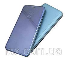 Зеркальный чехол-книжка CLEAR VIEW с функцией подставки для Samsung  A7 2018 (A750) Синий