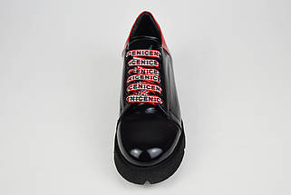 Туфли женские черно-красные Evromoda 3125, фото 3