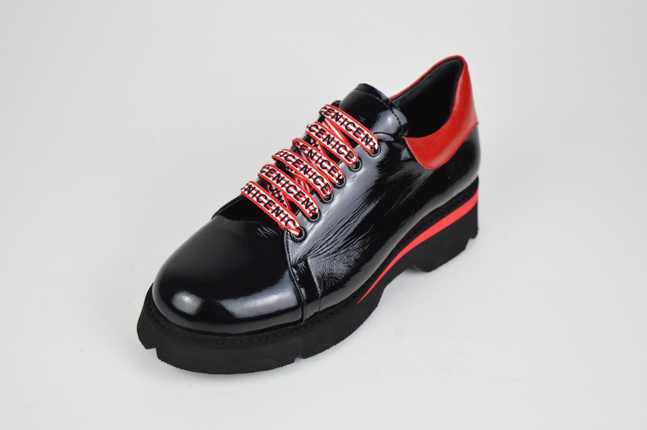 Туфли женские черно-красные Evromoda 3125