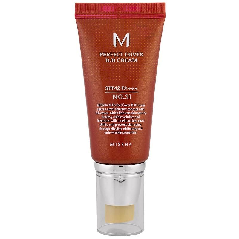 """ВВ крем з ідеальним покриттям Missha """"M Perfect Cover B. B Cream"""" №31 золотисто-бежевий, SPF 42 PA+++ (50 мл)"""