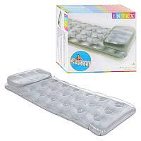 Стильный Надувной матрац для воды с подушкой, стиль стаканы, цвет стальной,188 х 71 см, Intex 58894