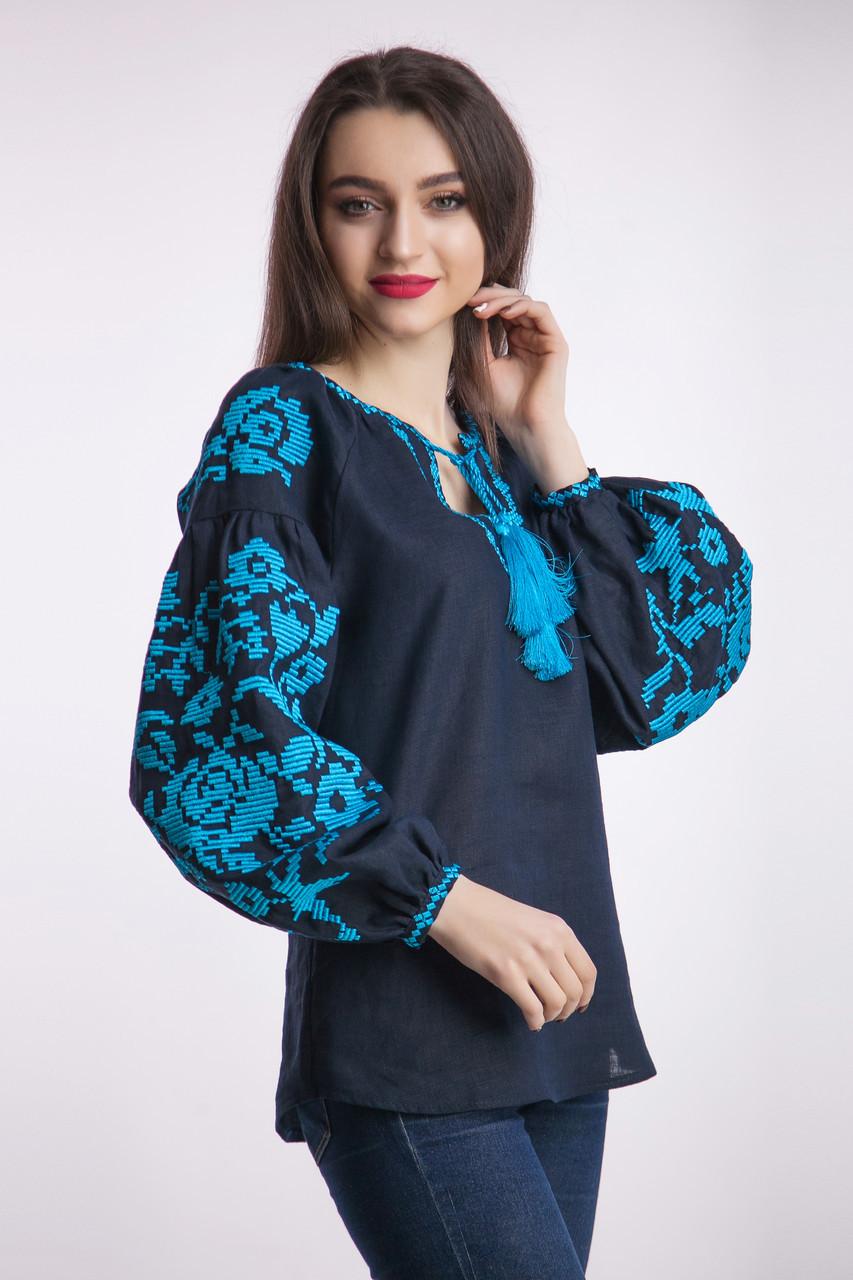 8960105f874dca Вишиванка жіноча синій льон бірюзова вишивка: продажа, цена в ...