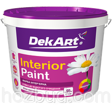 """Матовая акриловая краска """"Interior Paint"""" ТМ """"DekArt"""" для стен и потолков, 12,6кг (белая)"""