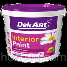 """Матовая акриловая краска """"Interior Paint"""" ТМ """"DekArt"""" для стен и потолков, 1,2кг (белая)"""