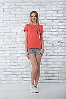 Модная летняя футболка Peecaboo, кораллового цвета