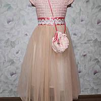 Детское платье в пол для девочки с сумочкой, фото 1