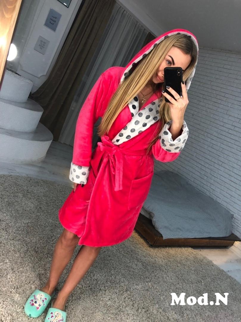 Женский очень теплый халат с капюшоном и поясом