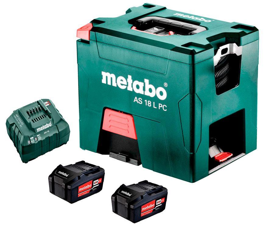 Аккумуляторный пылесос Metabo AS 18 L PC + 2 акб 18 V 5.2 Ah + з/у (602021000)