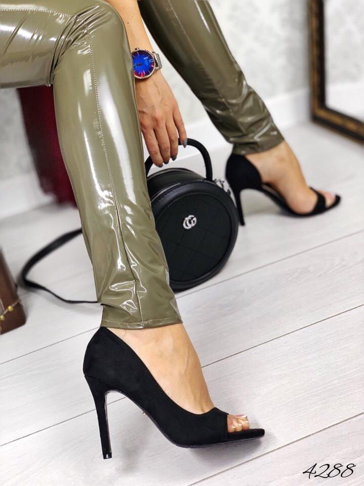 Туфле летние полуоткрытые чёрный замш 36 и 40 размеры
