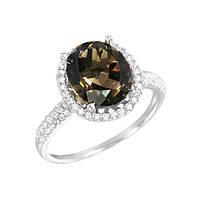 Серебряное кольцо Ванда с раухтопазом и фианитами 16.5 000081555
