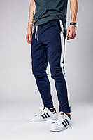 Темно-синие штаны с лампасами, спортивные штаны с лампасами (dark blue)