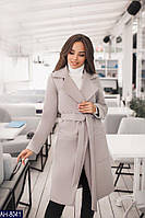 Женское модное пальто с поясом, фото 1