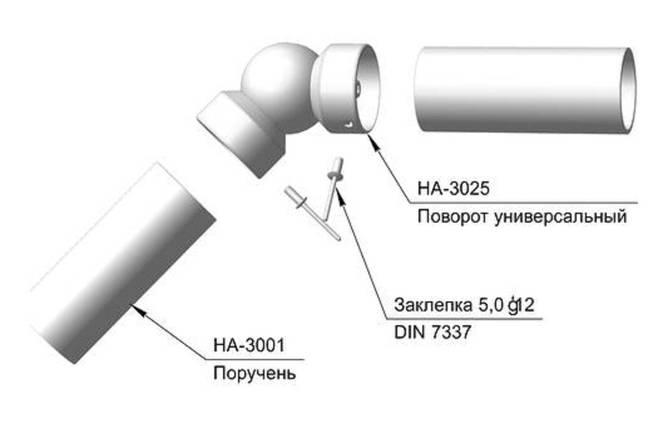 Поворот поручня универсальный 50 мм, фото 2