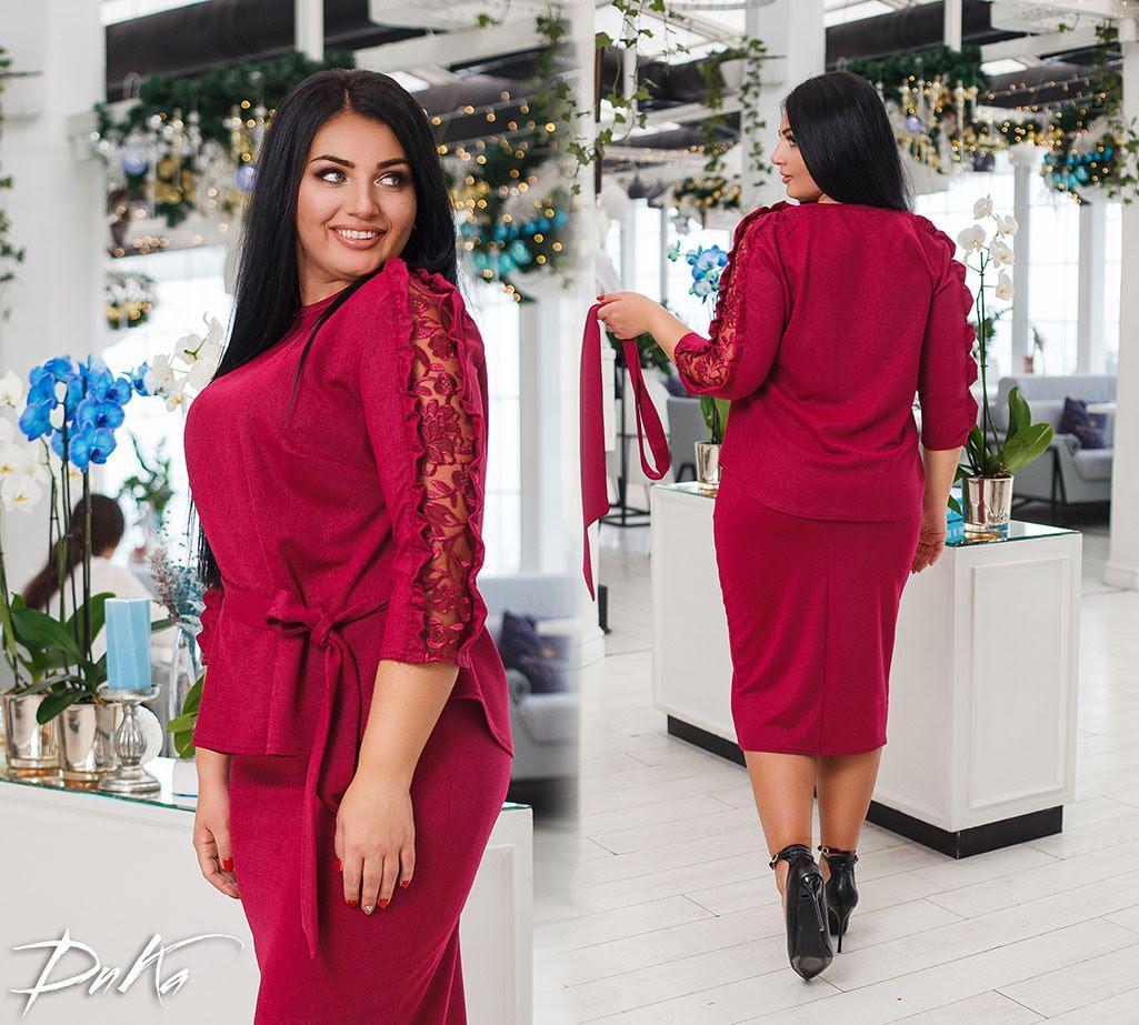 Женский нарядный костюм юбка+блуза креп-дайвинг+итальянские кружево батал размер:42-44,46-48,50-52,54-56