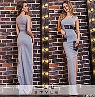 a1b907e71ba Летнее серое платье с кожаными карманами Код 317624541