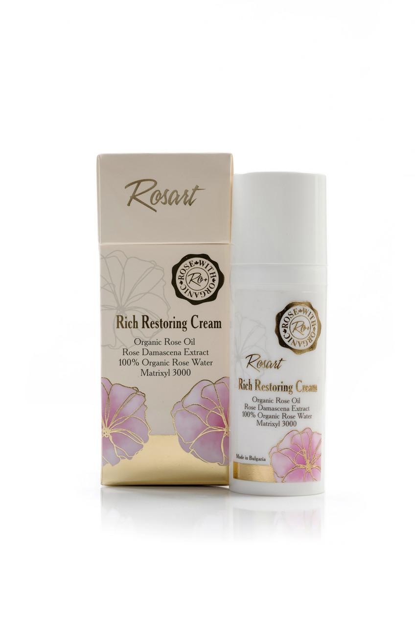 Восстанавливающий крем для лица против морщин с маслом розы RosArt Bulgarian OrganiRose 50 мл