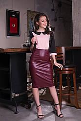 Эффектная юбка из эко-кожи с длинной молнией