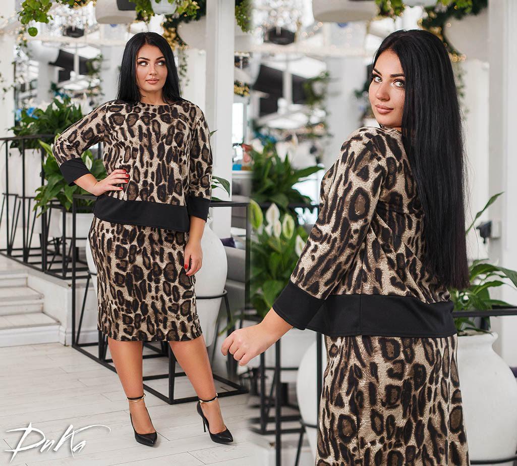 6a206a5aa48 Женский нарядный костюм юбка+блуза итальянский трикотаж батал размер 50-52