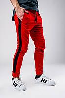 Мужские красные спортивные штаны с черными лампасами, красные штаны с черными лампасами