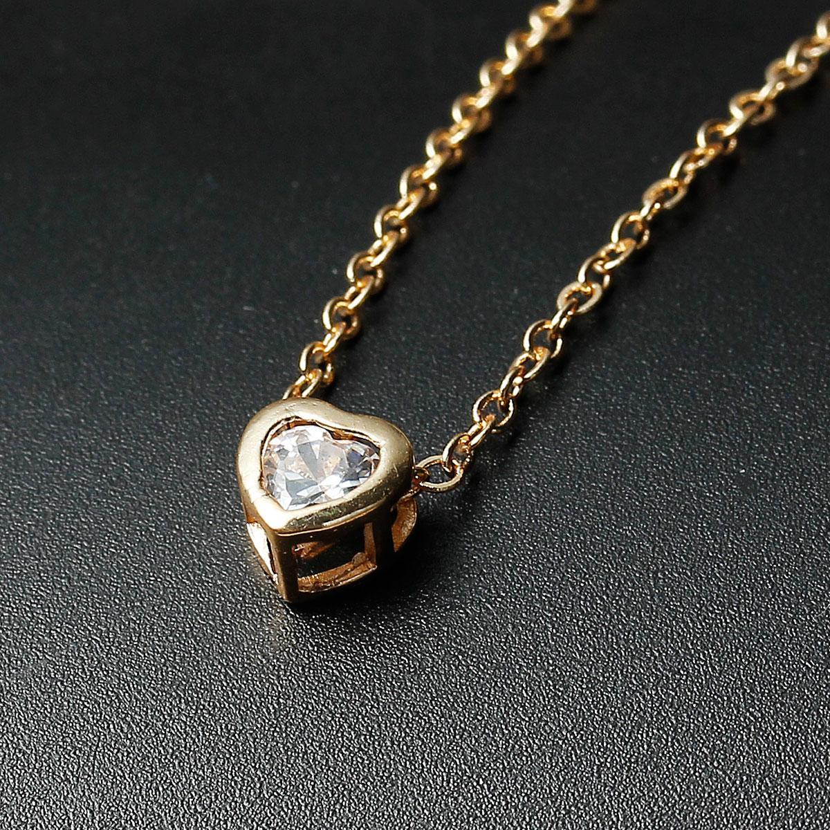 1ee75cbf8d3028 Подвеска Сердце, Цвет: Светло-золотой, Цирконий, Медь, 45 см цепочка ...