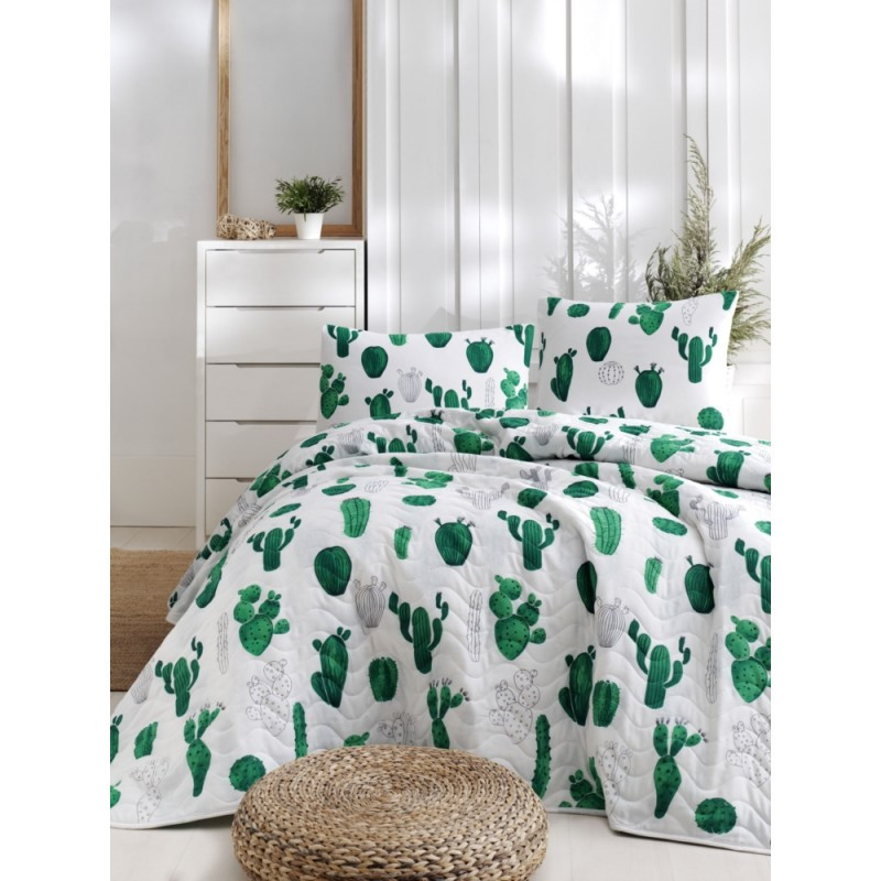 Покрывало стеганное с наволочками Eponj Home - Kaktus yesil зелёный 200*220