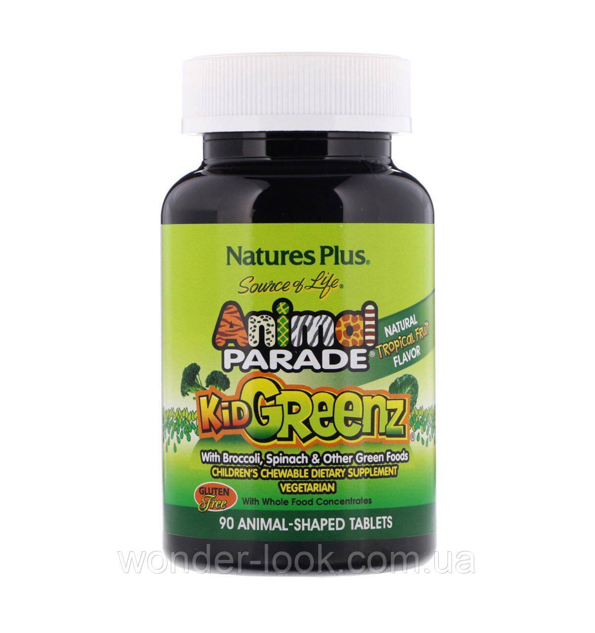 Nature's Plus, Источник жизни, Таблетки для детей в форме животных из зеленых овощей Animal parade