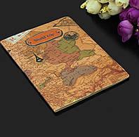 Чехол обложка для паспорта «World trip» в виде карты коричневый, фото 1