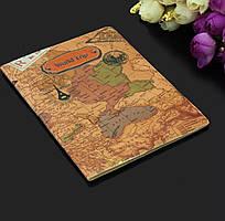 Чехол обложка для паспорта «World trip» в виде карты коричневый