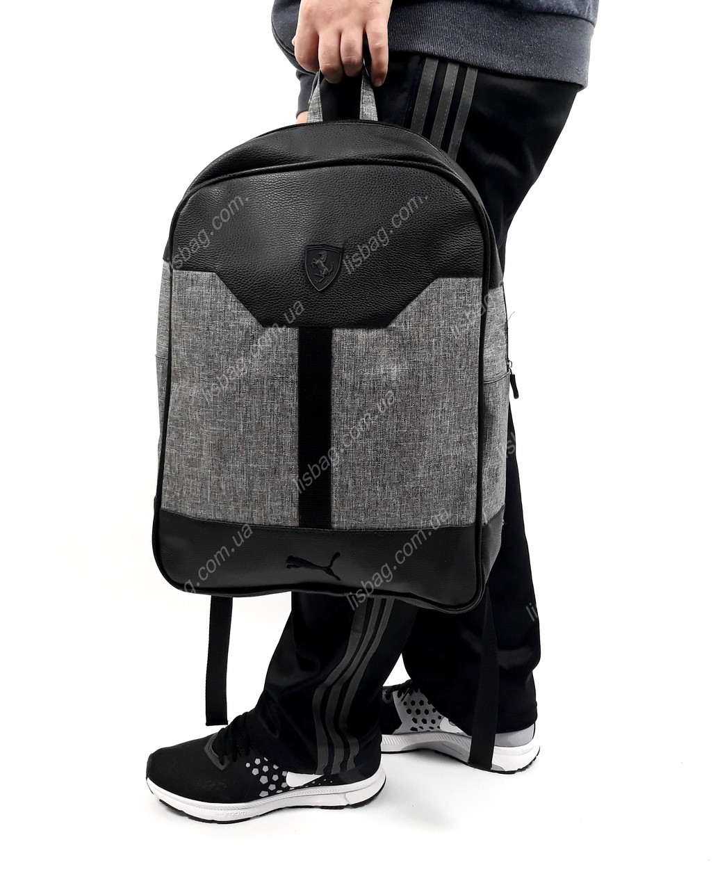 1729e0d7d8a0 Рюкзак PUMA-Ferrari с кожаным дном спортивный городской стильный на каждый  день Серо Черный -