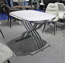 Стол трансформер TMT-33 экстра белый, круглый раскладной стол 105*(67-105)*(27,5-76), фото 3