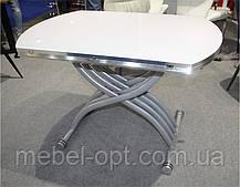 Стол трансформер TMT-33 экстра белый, круглый раскладной стол 105*(67-105)*(27,5-76), фото 2