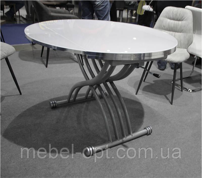 Стол трансформер TMT-33 экстра белый, круглый раскладной стол 105*(67-105)*(27,5-76)