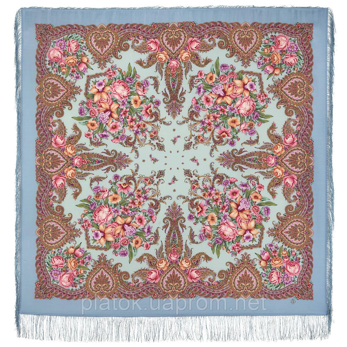 Магия чувств 1629-13, павлопосадский платок шерстяной (двуниточная шерсть) с шелковой бахромой