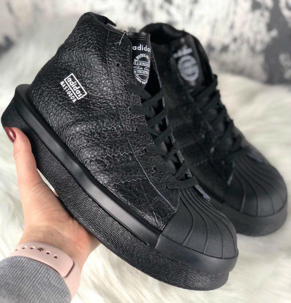 cc04b6b7 Rick Owens × Adidas Mastodon Pro II Black | кроссовки женские; черные;  кожаные;