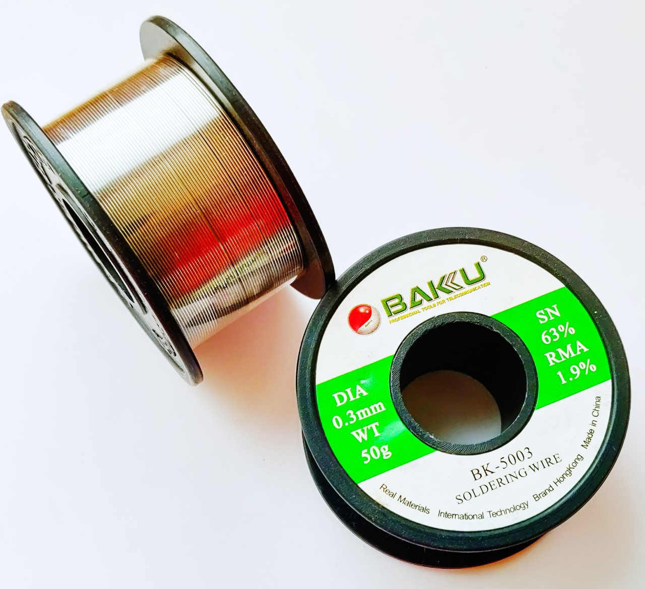 Припой легкоплавкий BAKU BK-5005 диаметр 0,5 мм с флюсом.
