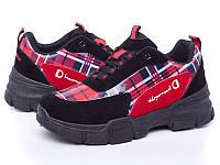 Кроссовки женские черные с красным, клетка