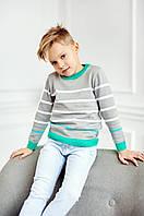 Свитер в тонкую полоску для мальчика | Серый 98